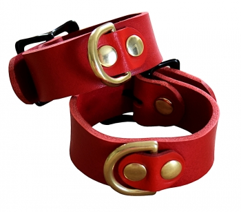 Ankle cuffs buffalo leather red