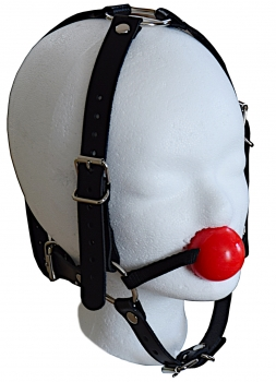 ball gag harness red