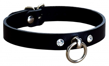 Sexy Leather Collar with Swarovski Crystals