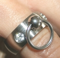 BDSM Ring of O with 2 glass crys...