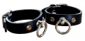 Sexy Leather Hand Cuffs with Swarovski Crystals, schwarz