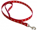 leather Leash with rivets red